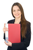 Giovane donna sorridente con un dispositivo di piegatura in mani Fotografia Stock Libera da Diritti
