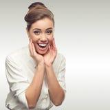 Giovane donna sorridente di affari Immagini Stock Libere da Diritti