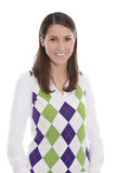 Giovane donna sorridente felice isolata sopra fondo bianco Fotografia Stock Libera da Diritti