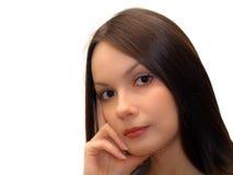 Giovane donna su priorità bassa bianca Immagini Stock Libere da Diritti