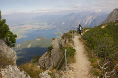 Giovane donna, su una passeggiata della corda per funamboli nelle alpi bavaresi Fotografia Stock Libera da Diritti