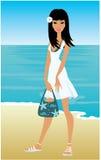 Giovane donna su una spiaggia illustrazione vettoriale