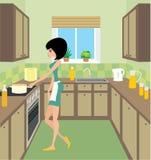 Giovane donna sulla cucina royalty illustrazione gratis