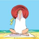 Giovane donna sulla spiaggia, sul rilassamento e sulla meditazione illustrazione di stock
