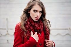 Giovane donna sveglia che porta sciarpa e cappotto rossi fotografia stock
