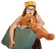 Giovane donna tesa con la valigia Fotografie Stock