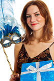 giovane donna in un carnevale ad una mascherina Fotografie Stock