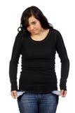 Giovane donna in una condizione finanziaria difficile fotografia stock