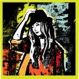 Giovane donna Unrecognizable nel backgrounde del grunge. Fotografie Stock Libere da Diritti