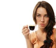 Giovane donna Upset con la tazza del caffè del caffè espresso immagine stock