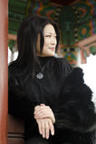 Giovane donna in vestiti di pelliccia scura Immagine Stock Libera da Diritti