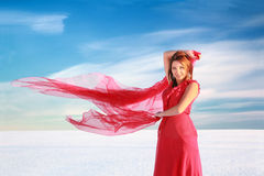 Giocando con il vento Fotografia Stock