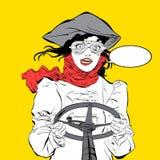 Giovane driver sorridente Pilota della ragazza Pilota della donna Gli aerei dell'aria sport Pilota sorridente Idea di concetto de Fotografie Stock