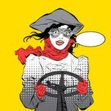 Giovane driver sorridente Pilota della ragazza Pilota della donna Gli aerei dell'aria sport Pilota sorridente Idea di concetto de Immagini Stock