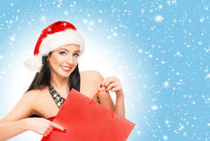Giovane e bella ragazza del cliente di Natale Fotografia Stock Libera da Diritti