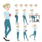 Giovane e bello carattere della donna in molti posa illustrazione di stock