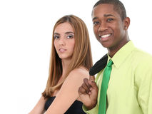 Giovane e donna attraenti sopra priorità bassa bianca immagini stock libere da diritti