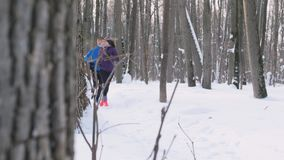 Giovane e donna che corrono e che parlano nella foresta di inverno al primo mattino stock footage