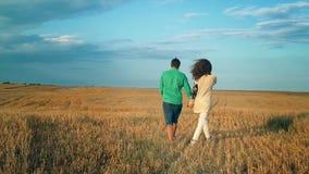 Giovane e donna che si tengono per mano e che camminano attraverso un giacimento di grano, tramonto, movimento lento stock footage