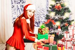 Giovane e ragazza rossa graziosa del letto in un mini mini vestito da Santa Claus su un fondo di natale fotografie stock