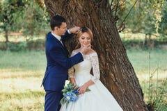 Giovane e sposo attraente sveglio, vestito in un vestito alla moda alla moda rigoroso di nozze blu, tenente tenero dal mento il s fotografia stock