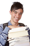 Giovane ed allievo bello con i libri Immagine Stock