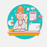 Giovane elaborazione multitask del responsabile o della donna di affari di ufficio Signora di affari o lavoratore della società S Immagini Stock Libere da Diritti