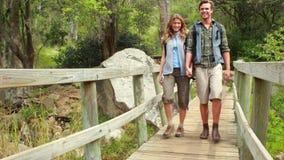Giovane escursione felice delle coppie della viandante stock footage