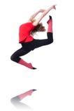 Giovane esercitazione della ginnasta Fotografie Stock