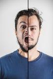 Giovane espressione alla moda del fronte del doppio dell'uomo Immagini Stock