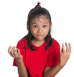 Giovane espressione asiatica IV del fronte della ragazza Immagine Stock