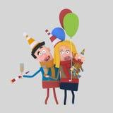 Giovane famiglia che tosta con il champagne 3d royalty illustrazione gratis