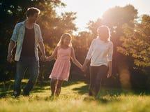 Giovane famiglia felice che cammina attraverso un parco che si tiene per mano insieme Fotografia Stock