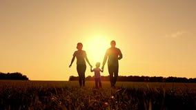 Giovane famiglia felice con funzionamento del bambino sul campo di estate Movimento lento video d archivio