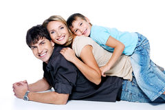 Giovane famiglia felice con il bambino Fotografie Stock Libere da Diritti