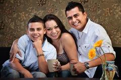 Giovane famiglia felice dell'nativo americano Fotografia Stock