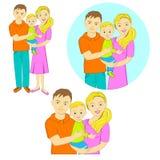 Giovane famiglia immagine del padre, della madre e del bambino Immagini Stock Libere da Diritti