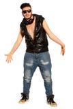 Giovane fanatico Stile della via del ragazzo dello spaccone Su bianco Png disponibile Fotografie Stock