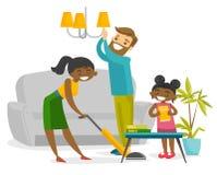 Giovane fare piazza pulita multirazziale felice della famiglia royalty illustrazione gratis