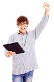Giovane felice con il PC del ridurre in pani Fotografie Stock Libere da Diritti