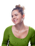 Giovane femmina caucasica con Gray Eyes And Brown Hair immagini stock libere da diritti