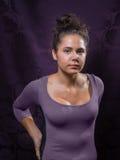 Giovane femmina caucasica con Gray Eyes And Brown Hair immagine stock libera da diritti