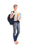 Giovane femmina sorridente che tiene un libro Fotografia Stock