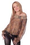 Giovane femmina sorridente con capelli biondi fotografia stock libera da diritti