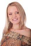 Giovane femmina sorridente in studio fotografia stock