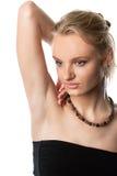 Giovane fine bionda sensuale della ragazza sul ritratto immagine stock