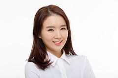 Giovane fine graziosa asiatica della donna di affari sul ritratto Fotografia Stock Libera da Diritti