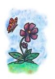 Giovane fiore con una farfalla & un x28; 2017& x29; Fotografia Stock