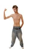 Giovane flessione maschio scarna Fotografia Stock Libera da Diritti