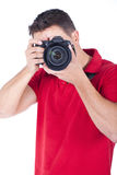 Giovane fotografo con una macchina fotografica Fotografia Stock